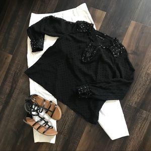 Zara black Swiss dot lace long sleeve top-NWOT